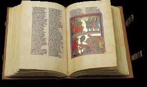 Der aufgeschlagene Band zeigt die Miniatur auf fol. 150r: Saul und Doge/Tötung der Priester (1 Kön 22,9-19)