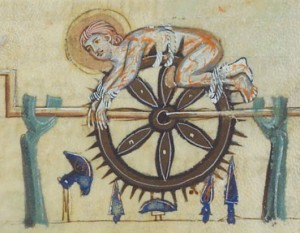 The wheel torture, on Prayer to the Virgin, illuminated manuscript facsimile