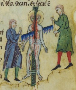 Cutting the Saint in two, Prayer to the Virgin, illuminated manuscript facsimile