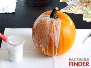 Illuminated pumpkin - a pumpkin decorated with illuminated manuscript