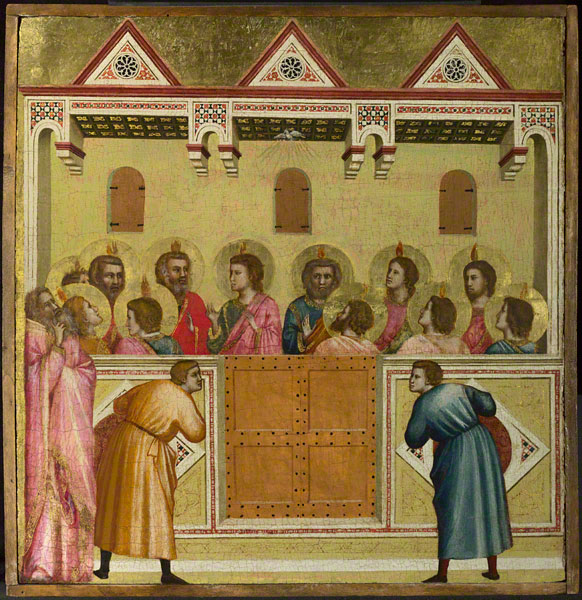Giotto di Bondone's tempera and gold leaf panel painting Pentecost from around 1320, which comes to the AGO from The National Gallery of London