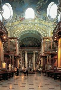 Glimpse of the Prunksaal in the Österreichischen Nationalbibliothek
