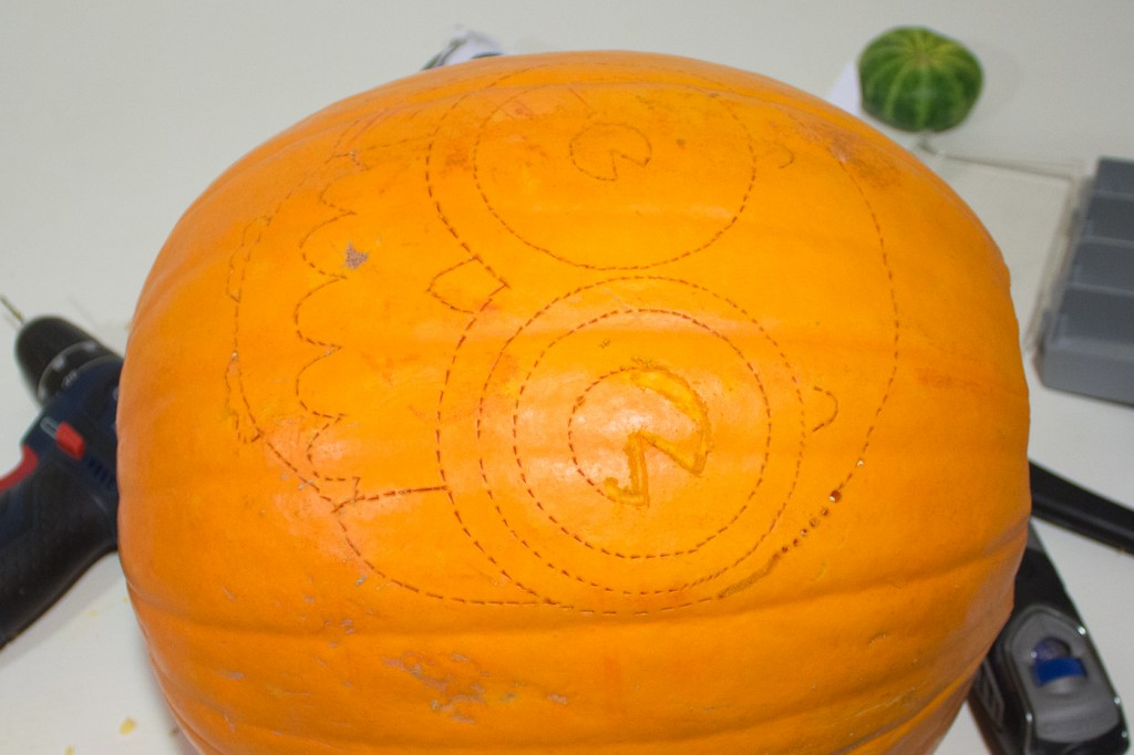 Your marked Halloween pumpkin, ready to be carved