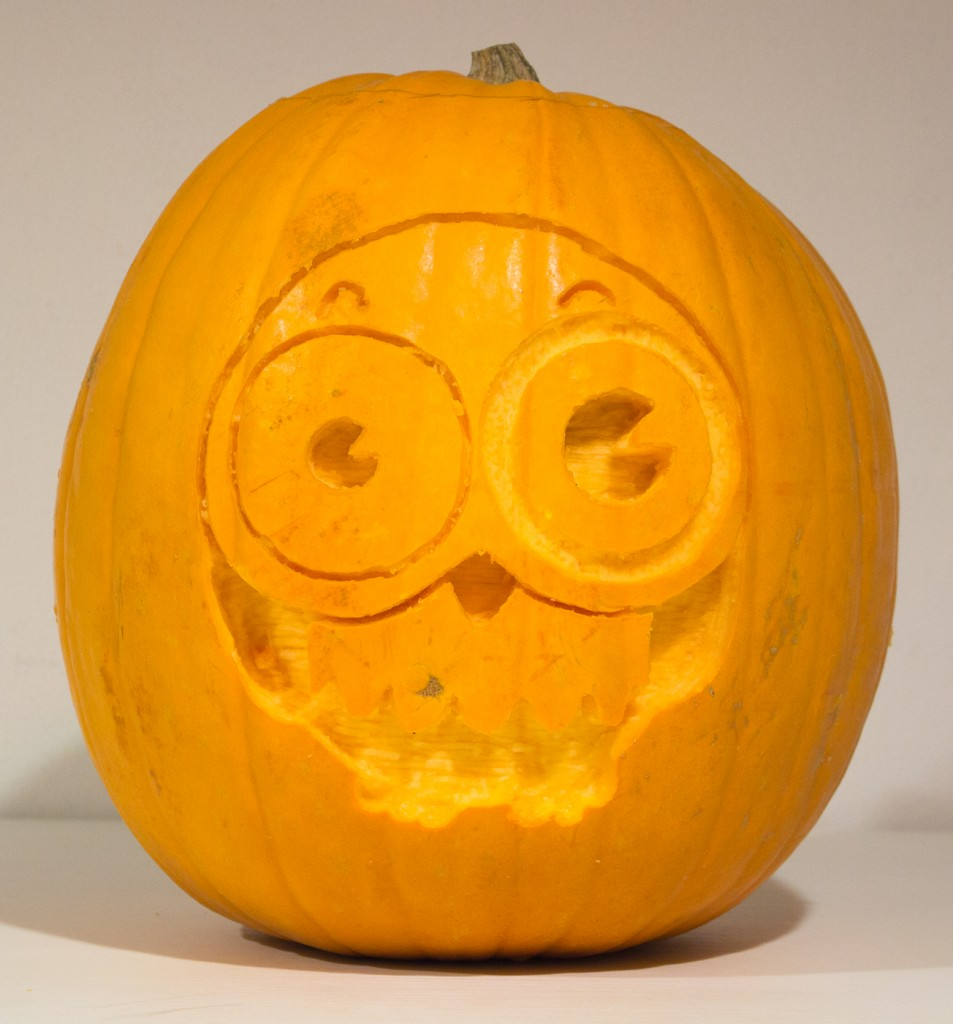 A carved Halloween pumpkin