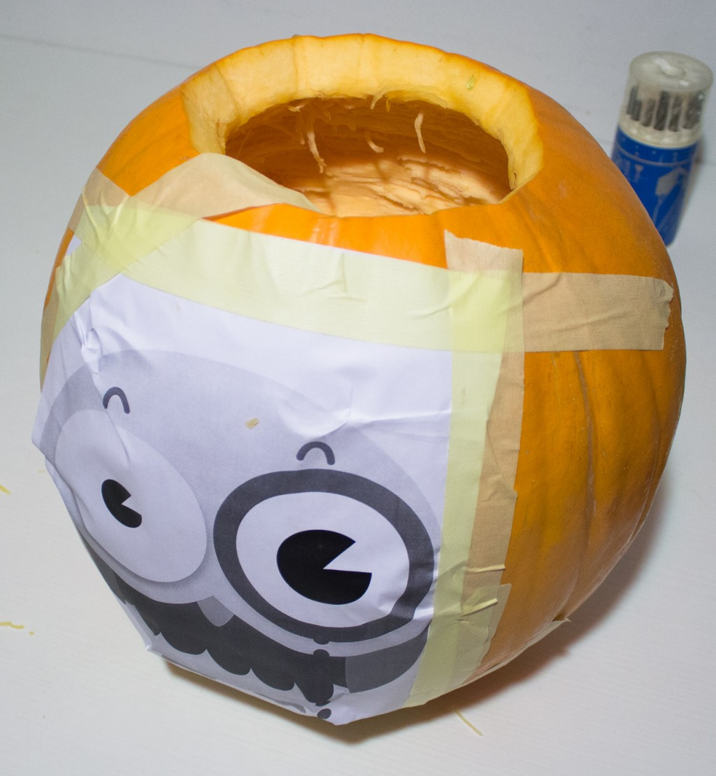 How to tape the stencil on your Halloween pumpkin