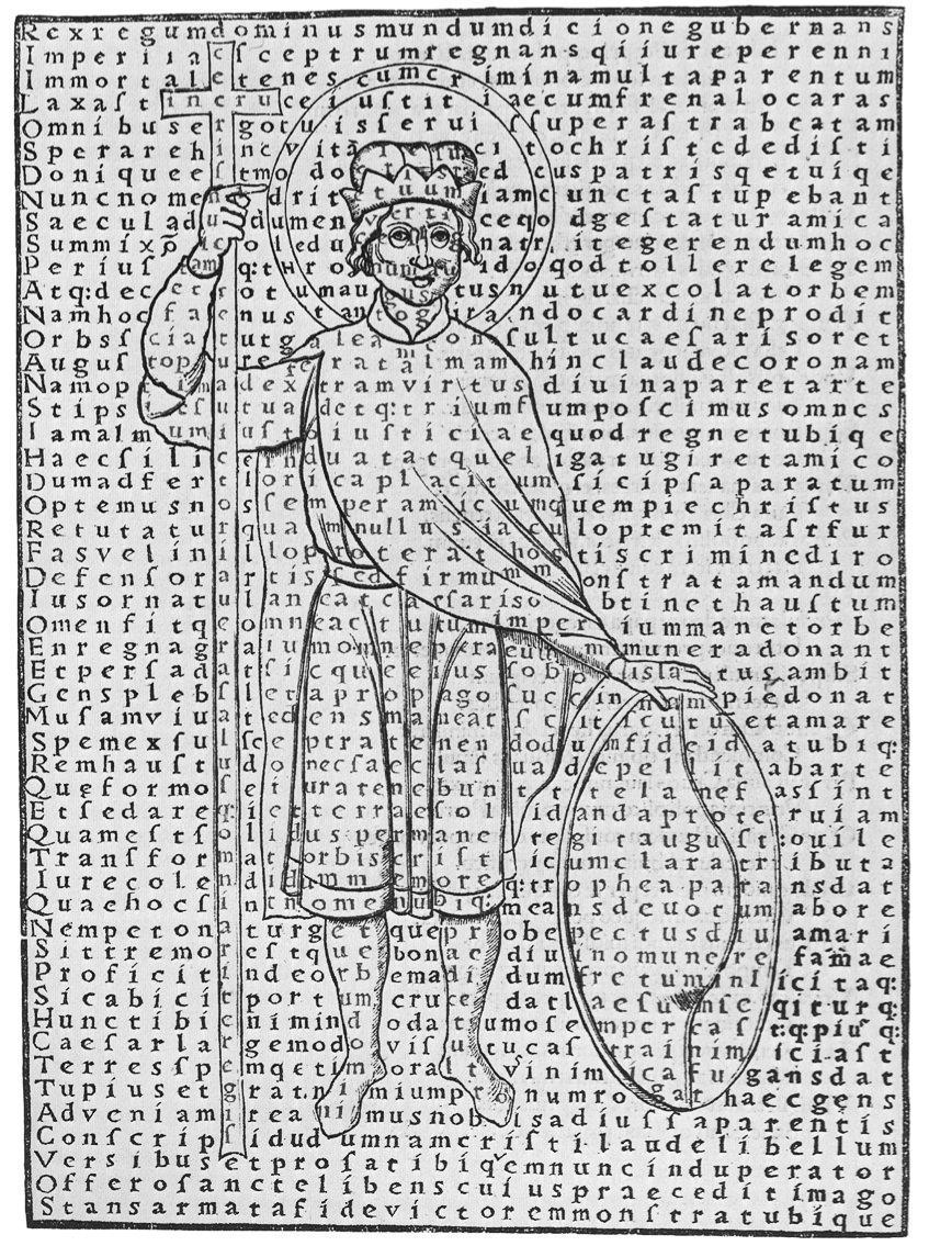 Hrabanus Maurus - Liber de laudibus sanctae Crucis. Picture of Louis the Pious.