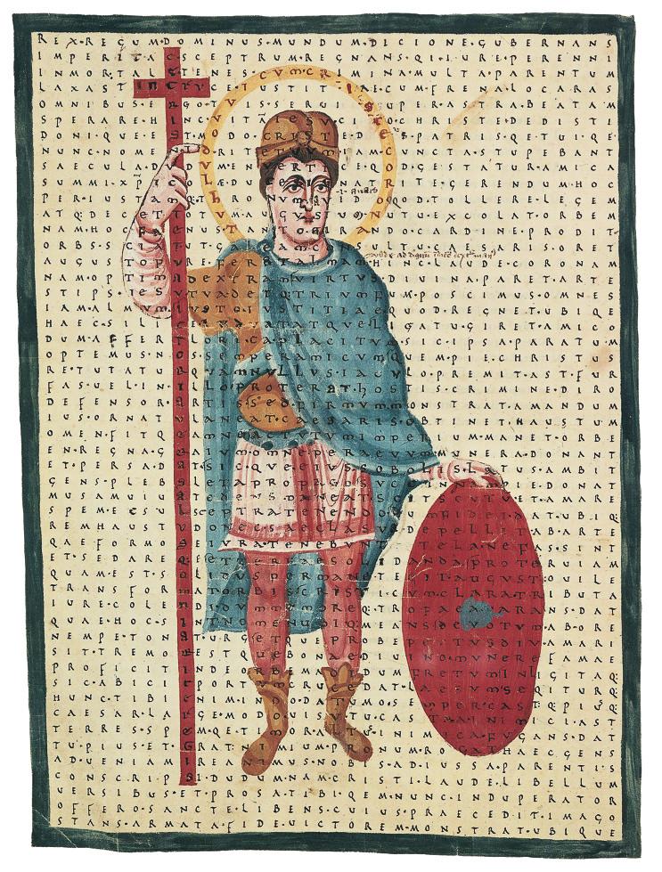 Hrabanus Maurus - Liber de laudibus sanctae Crucis. Colored picture of Louis the Pious.