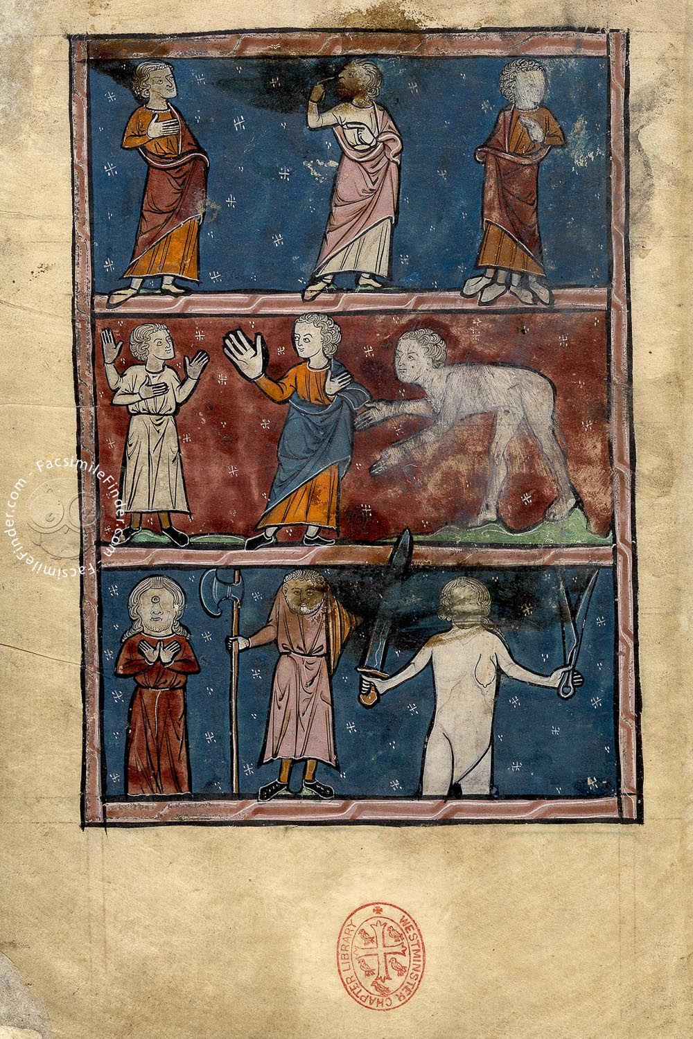 Westminster Bestiary, MS 22: not only animals, but also weird human figures in the Westminster Bestiary