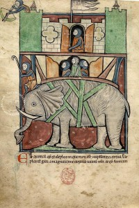 Westminster Bestiary, MS 22: Interesting depiction of an elephant; freedom in the use of margins.