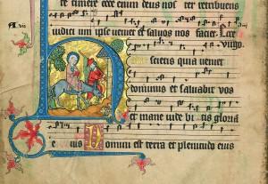 Codex Gisle, historiated initial with donkey