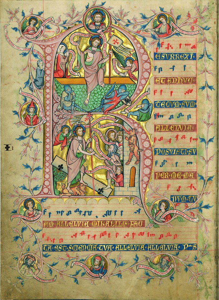 Codex Gisle, Confitemini with singing angels, fol. 68v