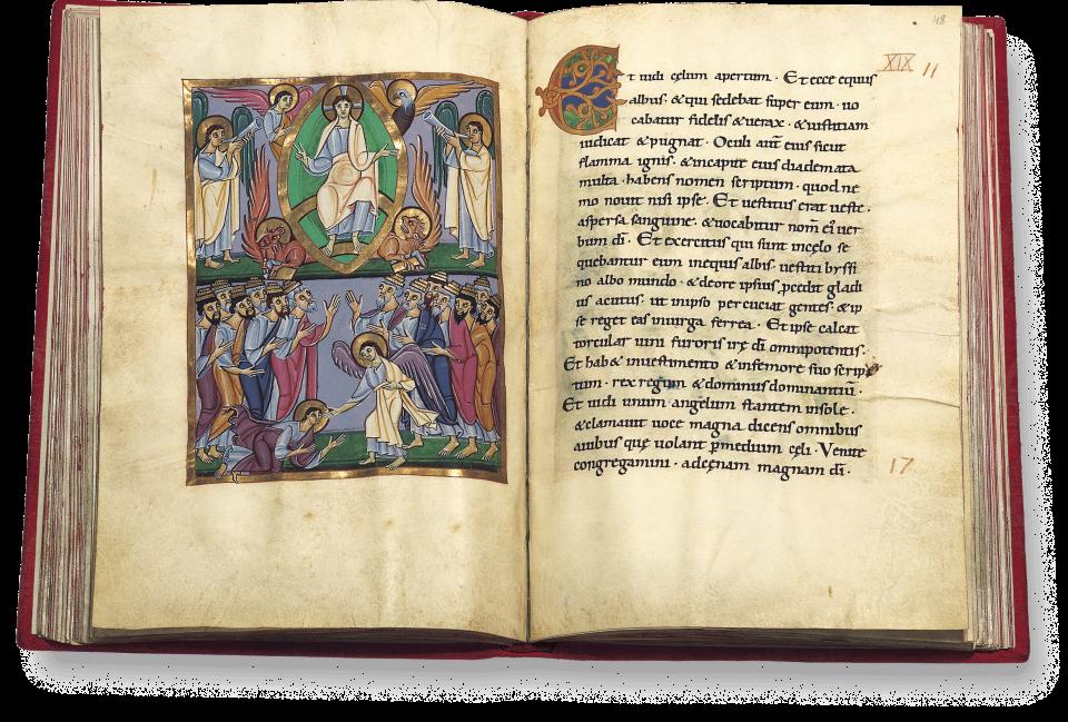 Der aufgeschlagene Band zeigt die Miniatur auf fol. 47v/48r: Das große Halleluja (Apk. 19, 1-10).