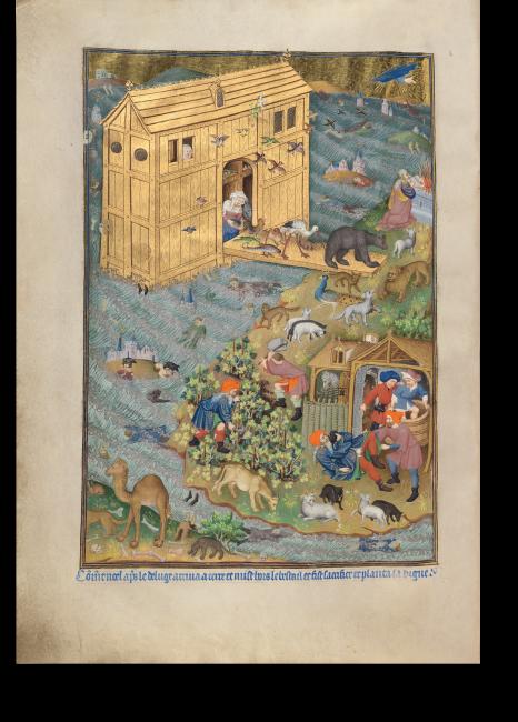Fol. 16v: Die Miniatur erzählt Noahs Geschichte, des Erbauers der Arche. Sie zeigt den glücklichen Moment der Ankunft an Land und im Vordergrund die spätere Geschichte von Noahs Trunkenheit.