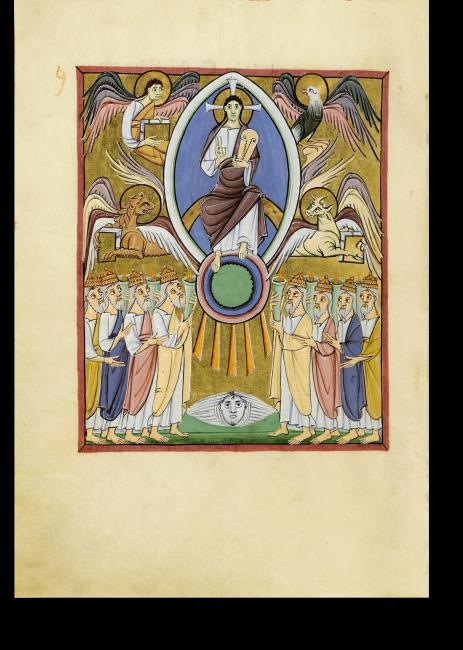 Fol. 10v: Der Thronende und die Ältesten: Christus sitzt auf einem edelsteingeschmückten Strahlenbogen, umgeben von den vier Evangelisten und den Ältesten.
