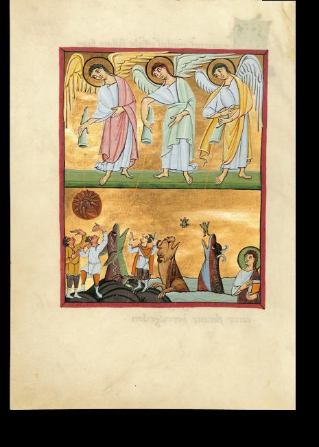 Fol. 40v: Das Ausgießen der vierten bis sechsten Schale (Apk. 16, 8-14). Die Engel entleeren drei der sieben Schalen mit dem Zorn Gottes über die Menschen. Am rechten Bildrand wird Johannes Zeuge der Szene.