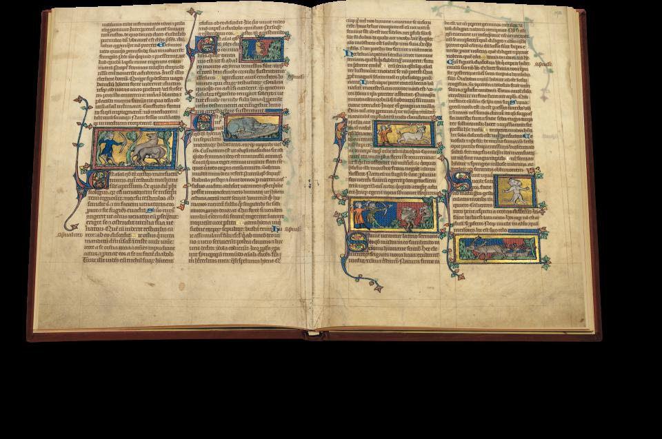 Fol. 191v/192r: Neben Darstellungen bekannter Tiere wie dem Biber oder der Hyäne enthält das Bestiarium auch Beschreibungen von Fabelwesen wie dem Satyr (ganz rechts, obere Miniatur).