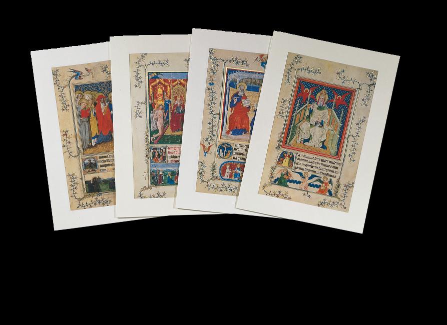 Das Portfolio mit den vier verbliebenen Blätter aus dem verbrannten Turiner Gebetsbuch.