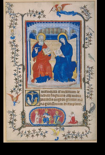 RF 2024: Maria und Johannes als Fürbitter und Zeugen der Erlösungstat Christi. Die ganze Bildseite ist typisch für den Weichen Stil des Meisters des Paraments von Narbonne.