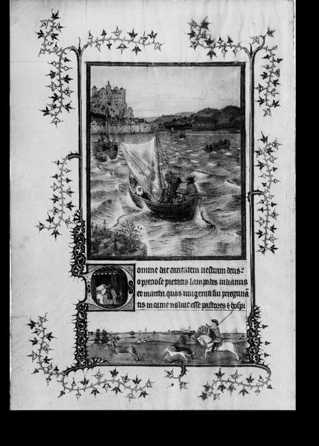 Fol. 55v des verbrannten Turiner Gebetbuches (Jan oder Hubert van Eyck): Das Wunder der Heiligen Julian und Martha.