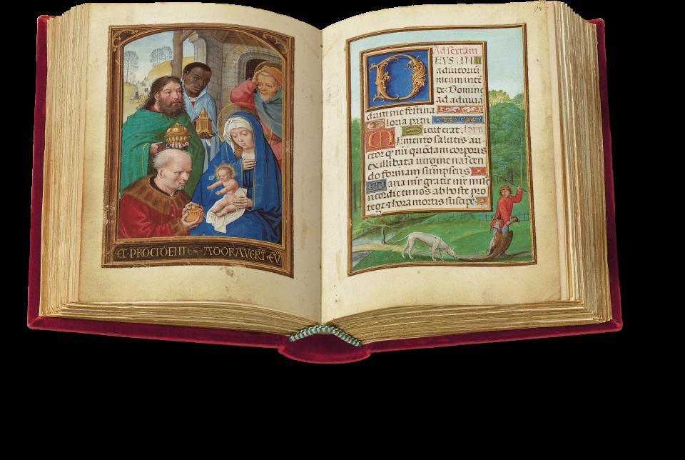 Der aufgeschlagene Band zeigt die Miniatur auf Fol. 93v: die Anbetung der Könige.