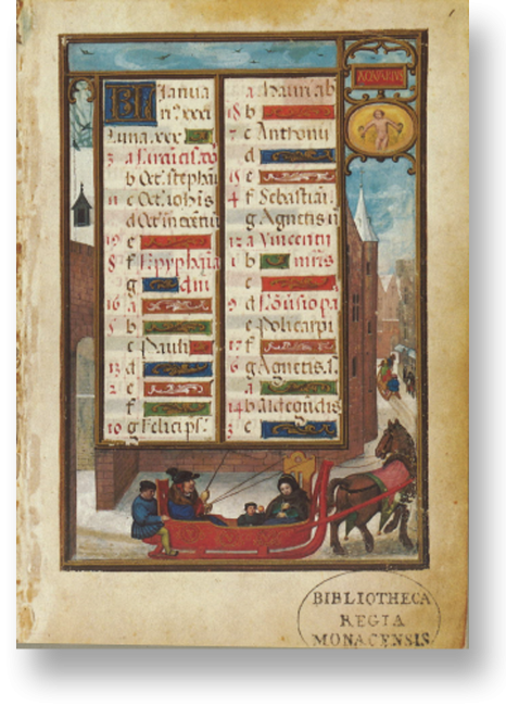 Fol. 1r: Kalender, Januar. Bei allen Kalenderbildern wird durch das Rahmensystem die Illusion erweckt, man blicke auf einen großen Prospekt, der durch den Schriftspiegel nur verstellt wird.