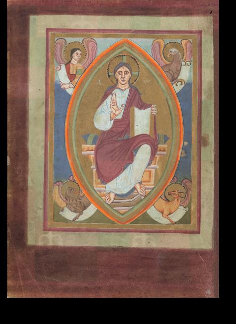 Fol. 2v: Majestas Domini: Umgeben von den Evangelistensymbolen thront Christus in einer goldenen Mandorla.