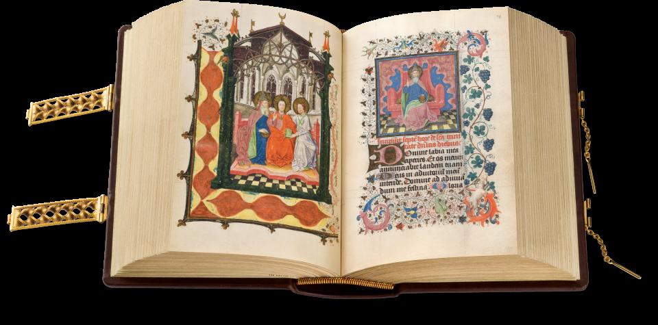 Der offene Band zeigt fol. 78, Gottvater, gekleidet wie auf der nebenstehenden ganzseitigen Miniatur, als Kopfbild zum folgenden Gebetstext. Im Rahmen ein Ziegenbock, der an eine Weinrebe gelangen möchte.