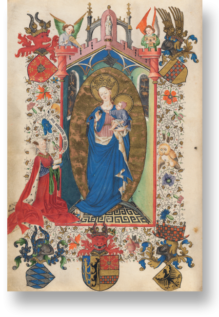 Fol. 1v: Katharina von Kleve im Gebet zur Madonna mit Jesuskind. Die Kappe, die Jesus trägt, zeichnet ihn bereits als Gelehrten aus, auf dem Spruchband müsste er der Beterin die Erlösung verbriefen. Diese wendet sich allerdings an die Madonna.