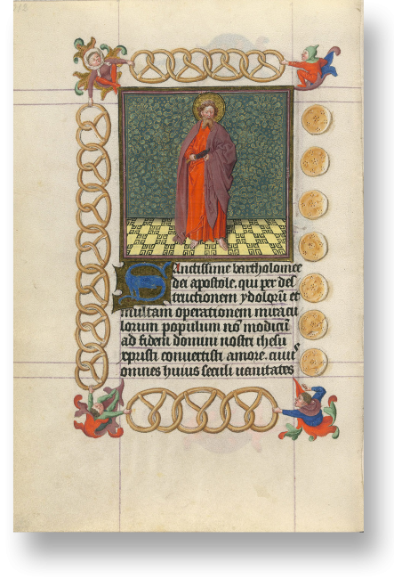 Folio M p. 228: Die Seite mit dem Bild des hl. Bartholomäus gehört zum Ungewöhnlichsten, das wir aus der spätmittelalterlichen Buchmalerei kennen. Das Bild des Apostels und der zugehörige Text sind in einem Rahmen aus Backwerk gesetzt.