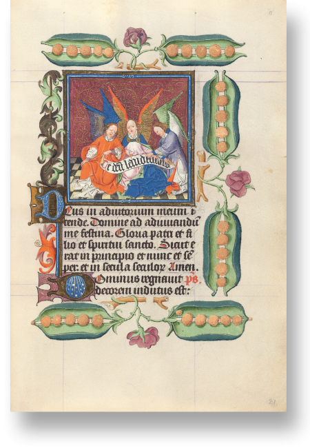 Fol. 11r: Engel, die das Te deum laudamus singen, zur Marien-Laudes. Der Hymnus beschließt eigentlich die Marien-Matutin. Damit macht die Miniatur nicht den nachfolgenden Text kenntlich, sondern bezieht sich auf eine vorausgehende Passage.