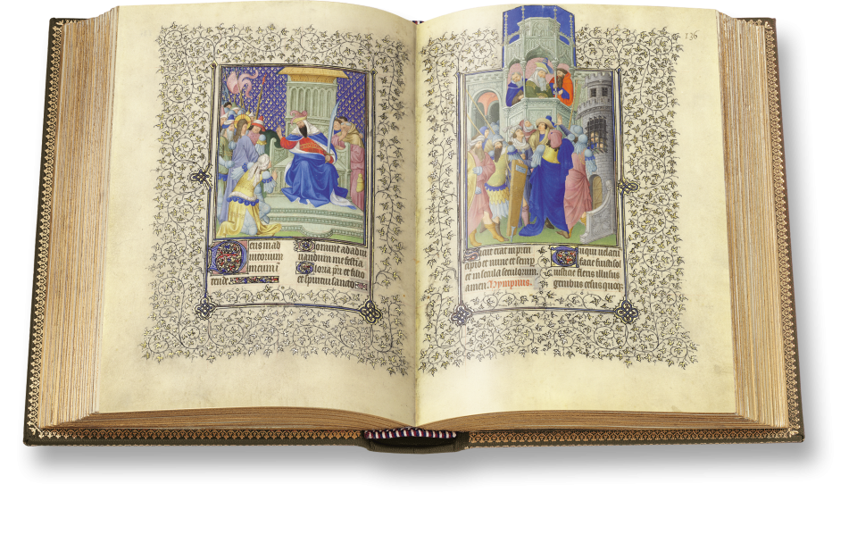 Der aufgeschlagene Band zeigt zwei Miniaturen von der Hand Herman Limburgs. Fol. 135v: Jesus wird vor Pilatus geführt. Fol. 136r: Der römische Statthalter will Jesus freigeben.