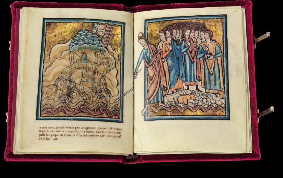 Auf einer Doppelseite gestaltete de Brailes den Zug Israels ins Gelobte Land und den Untergang der Armee des Pharao im Roten Meer.