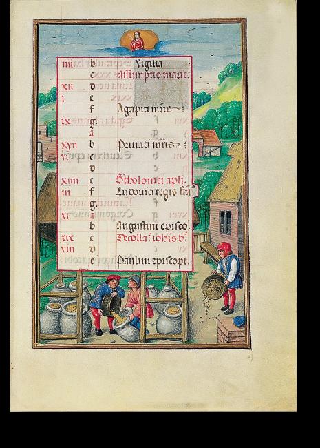 Fol. 9r: zweites Kalenderbild zum August: Getreideernte