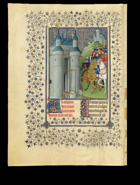 Fol. 223v: Filigranes Rankenwerk aus goldenen Efeublättern umrahmt die Miniatur zum Gebet für Reisende. Sie zeigt den Auftraggeber der Handschrift, wie er auf einem Schimmel mit seinem Gefolge auf ein mächtiges Schloss zureitet.