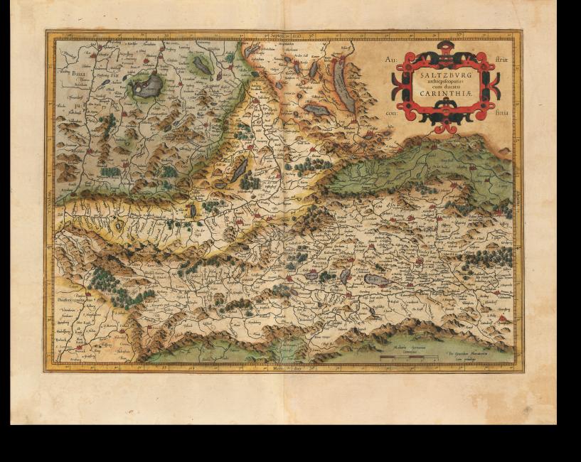 Fol. 113v/114r, Karte Y der ersten Lieferung 1585: Im Mittelpunkt die Region Salzburg und Kärnten. Die Gebirgszügen sind in typischer Maulwurfshügelmanier gehalten; Titel in Rollwerkkartusche.