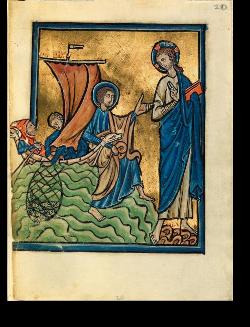 Fol. 28r: Jesus offenbart sich Petrus am See Tiberias nach seiner Auferstehung. Die Jesus-Darstellung nimmt die gesamte Höhe der Miniatur ein und erhält damit eine besondere Würde.