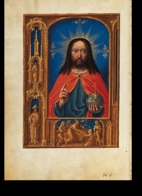 Fol. 14v: Salvator zum Gebet Salve sancta facies… Wie in vielen Gent-Brügger Stundenbüchern wird die Vollbildserie mit einem Porträt Christi als Salvator mundi eröffnet.