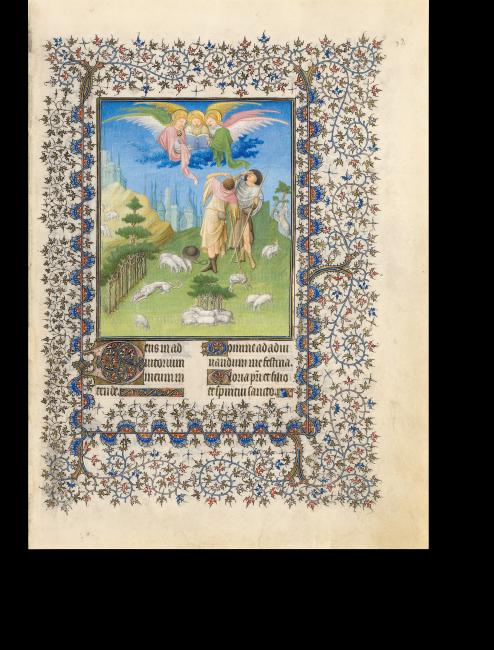 Fol. 52r: Die Verkündigung an die Hirten – der Verbreitung des Evangeliums gedachte man im Marienoffizium erst zur Terz, dem 3. Stundengebet des Tages. Daher steht die Verkündigung hier nach der Anbetungsszene, für die sie Voraussetzung ist.