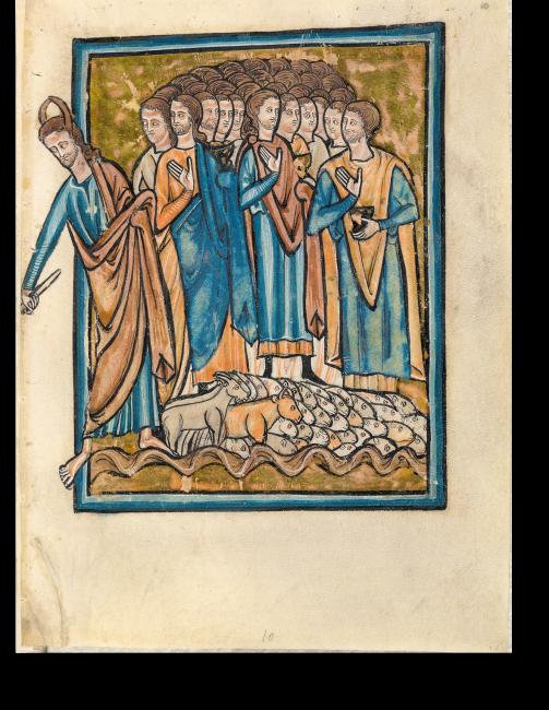 Fol. 22r: Eine Seite der doppelseitigen Szene Durchzug der Israeliten durch das Rote Meer. Moses ist an den Hörnern erkennbar.