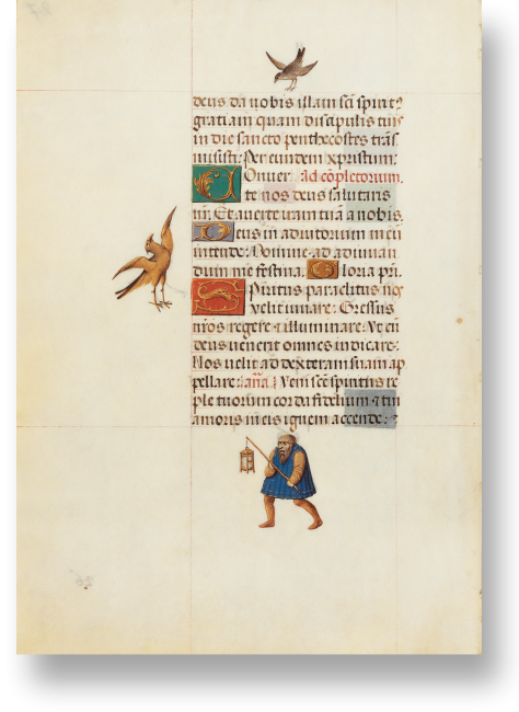 Fol. 27v: Anstelle von Zierleisten am Außenrand stehen freie Einzelmotive in Form von Tieren oder auch als Bezug zum Text. Hier Bezug zum Hymnus, der um Hilfe des Geistes bittet, die Schritte der Gläubigen zu lenken und zu erleuchten.