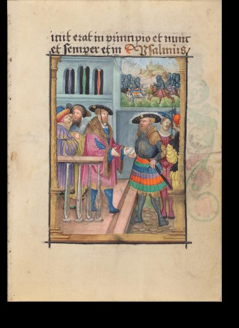 Fol. 8r: David übergibt Urija den Todesbrief