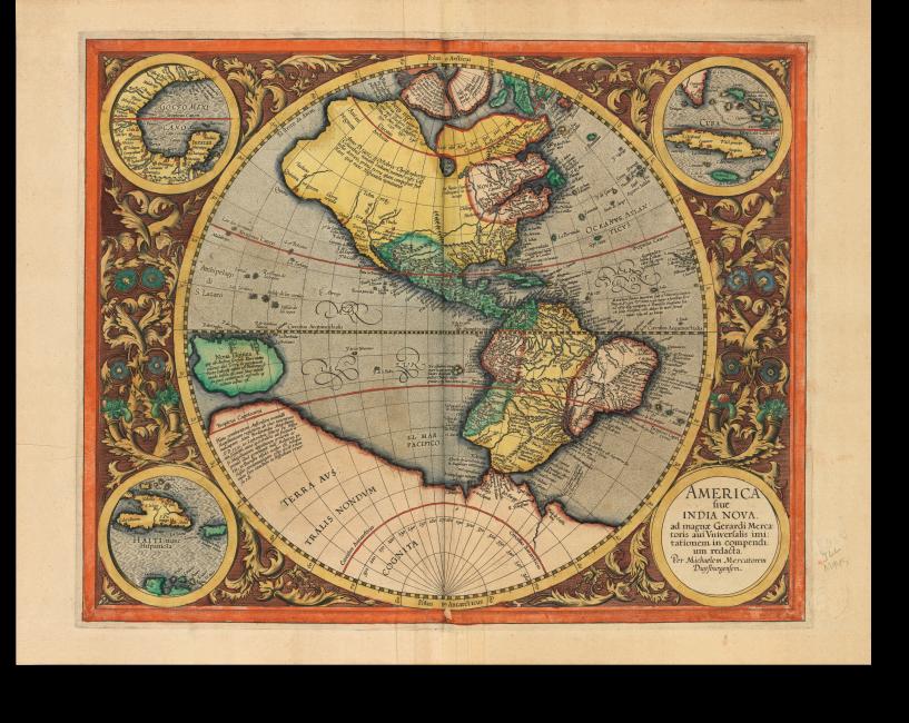 Fol. 208v/209r, Karte E der dritten Lieferung 1595: Der amerikanische Doppel- und der mythologische Südkontinent sowie drei Nebenkarten außerhalb der Hemisphäre. Nachahmung der großen Weltkarte Mercators durch seinen Enkel Michael Mercator.
