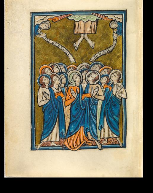 Fol. 29v: Christi Himmelfahrt. Die Inschrift lautet »Männer von Galiläa, warum schaut ihr?«