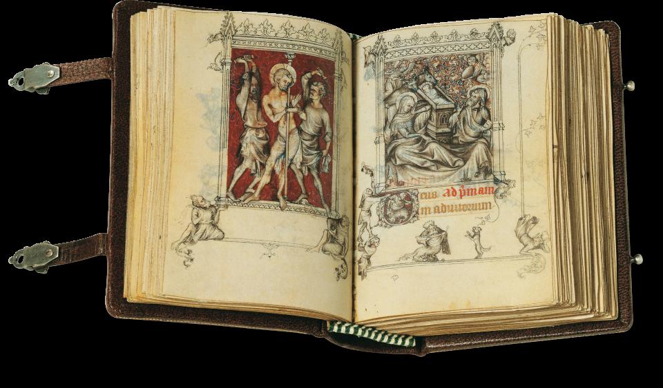 Der aufgeschlagene Band zeigt die Miniaturen auf fol. 54v/55r links die Geißelung Christi, rechts Christi Geburt.