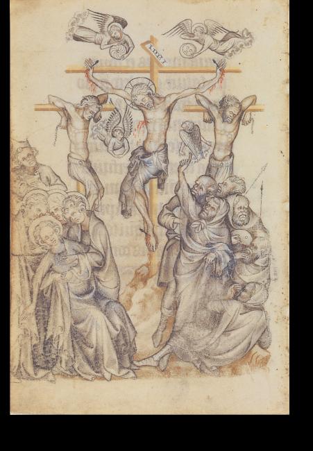 Fol. 68v: Kreuzigung Christi. Die Miniatur kommt ohne Rahmen aus und füllt die gesamte Seite. Die Darstellung ist überwiegend narrativ, auf die Wiedergabe der üblichen Symbolik wird weitgehend verzichtet.