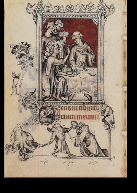 Fol. 123v: Die Speisung des leprakranken Mönches durch Ludwig den Heiligen.