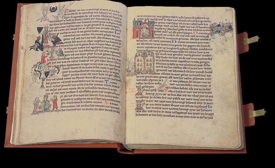 Fol. 19v/20r: Sieben römische Götter, denen jeweils ein Wochentag zugeordnet war, dazu Auszug aus der Geschichte der sieben sagenhaften Könige Roms.