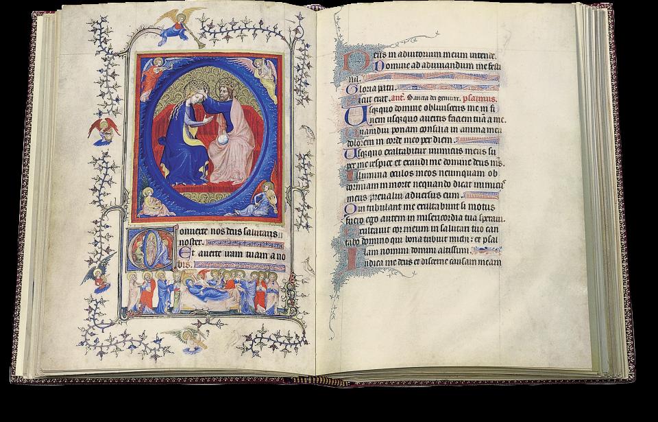 Der aufgeschlagene Band zeigt die Miniatur auf p.76: Krönung Marias, Ausführung vom Paramentenmeister.