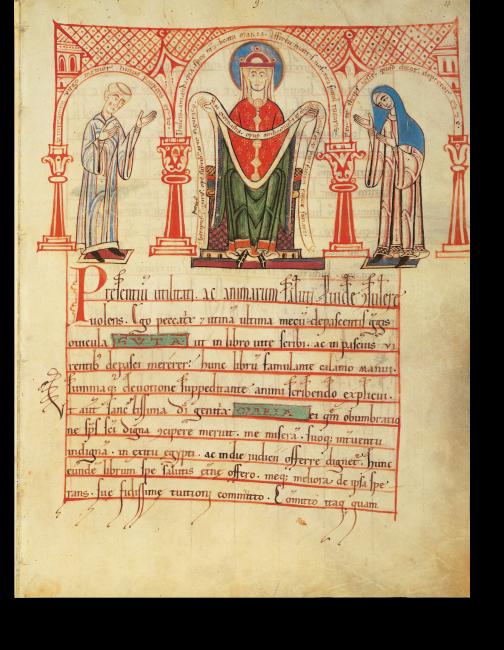 Fol. 4r: Guta und Sintram bieten  ihre Arbeit der Jungfrau dar, nachdem sie sie 1154 beendet hatten.