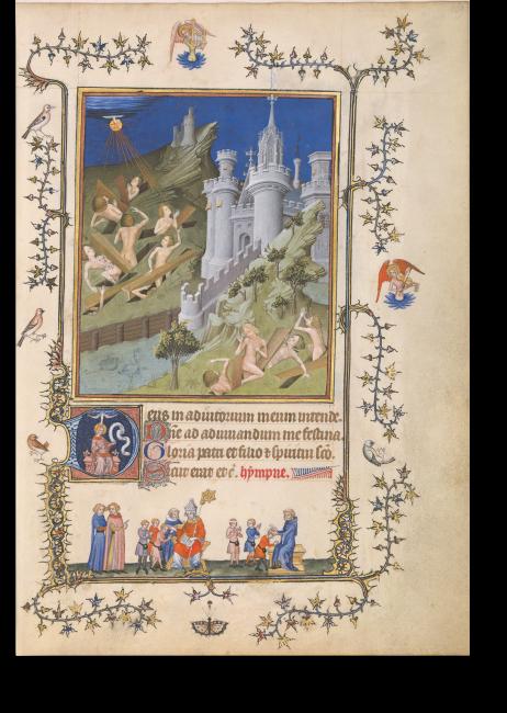 P. 169: Die Auferstehung der Toten; »Heilig-Geist«-Meister. In wilder Landschaft mit prächtiger Burg steigen zartgliedrige Figuren, tiefe Gemütsbewegung zeigend, aus der Erde. Darunter schauen zwei Männer der Firmung von Kindern zu.